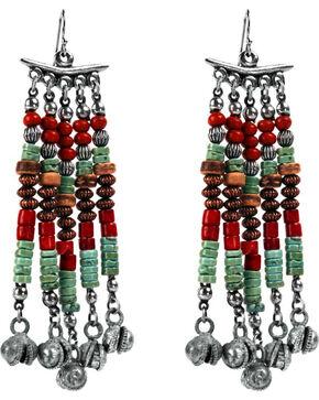 Treska Women's Cowtown Long Beaded Fringe Earrings , Turquoise, hi-res