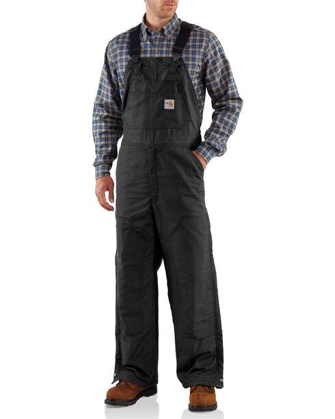 Carhartt Men's Flame-Resistant Midweight Quilt-Lined Bib Overalls - Big & Tall, Black, hi-res
