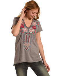 Johnny Was Women's Grey Helena V-Neck Shirt , , hi-res