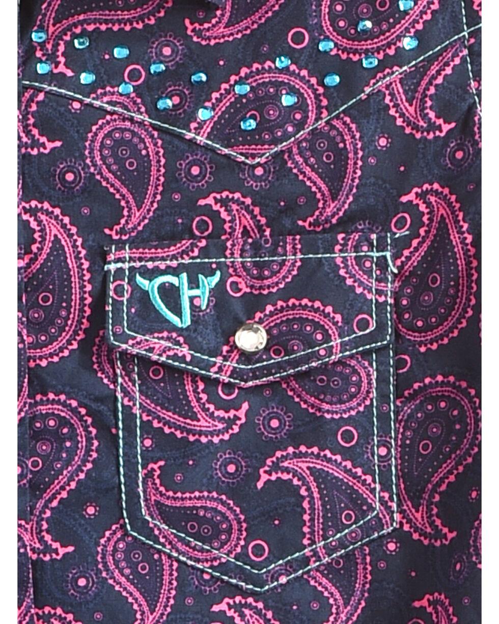Cowgirl Hardware Girls' Two Tone Paisley Crystal Yoke Long Sleeve Snap Shirt, , hi-res