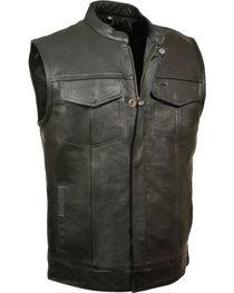 Milwaukee Leather Men's Open Neck Club Style Vest, , hi-res