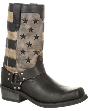 Durango Men's Black Patriotic Faded Flag Motorcycle Boots - Square Toe , Black, hi-res