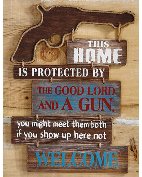 "Giftcraft ""This Home Is..."" Western Rope and Gun Wall Sign , Brown, hi-res"
