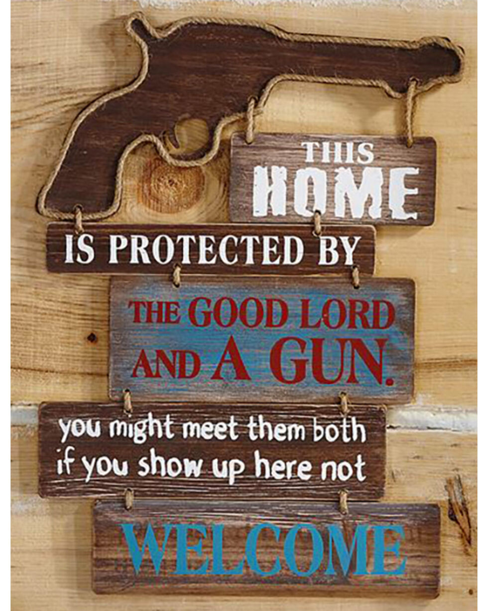 """Giftcraft """"This Home Is..."""" Western Rope and Gun Wall Sign , Brown, hi-res"""