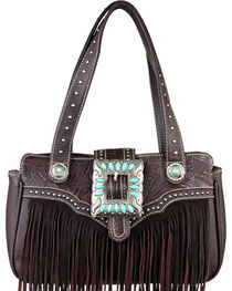 Montana West Trinity Ranch Coffee Fringe Design Handbag, , hi-res