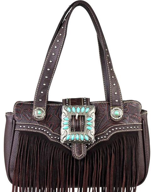 Montana West Trinity Ranch Coffee Fringe Design Handbag, Brown, hi-res