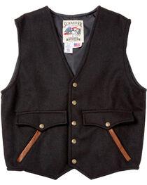 Schaefer Outfitter Men's Black Stockman Melton Wool Vest , Black, hi-res