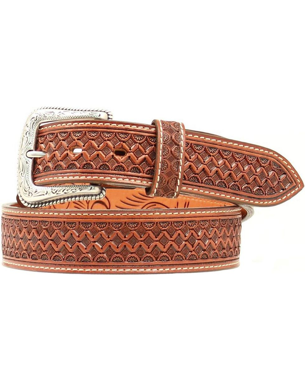 Nocona Fancy Tooled Basketweave Leather Belt, Tan, hi-res