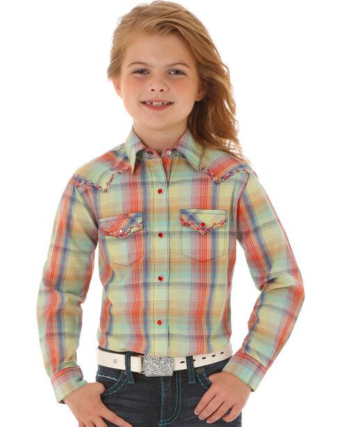 Wrangler Rock 47 Girls' Long Sleeve Multi-Color Plaid Shirt, Multi, hi-res