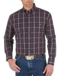 Wrangler Men's Wine George Strait Plaid Shirt - Tall , , hi-res