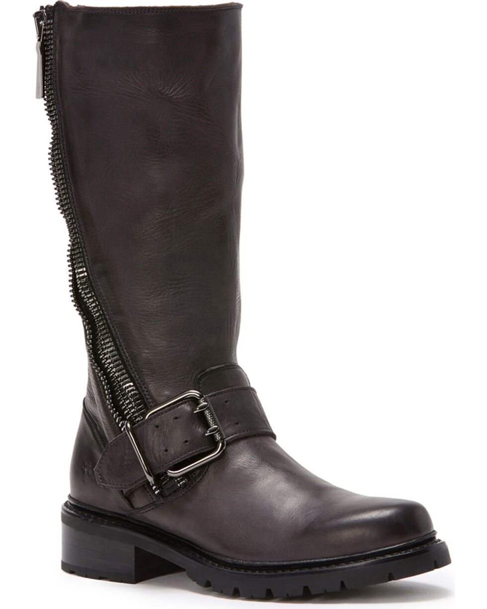 Frye Women's Charcoal Samantha Zip Tall Boots - Round Toe , Dark Grey, hi-res