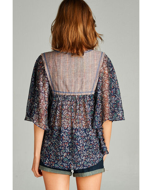 Hyku Women's Navy Denim Yoke Chiffon Top, Navy, hi-res