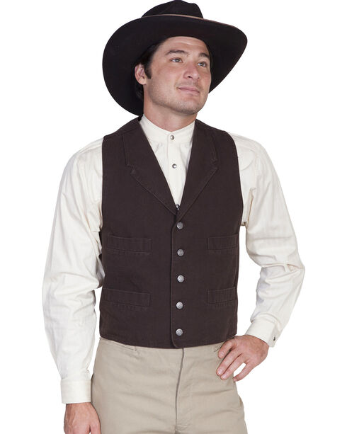 Wahmaker by Scully Canvas Vest, Walnut, hi-res