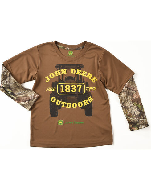 John Deere Boys' Brown Camo Outdoors Tee , Brown, hi-res