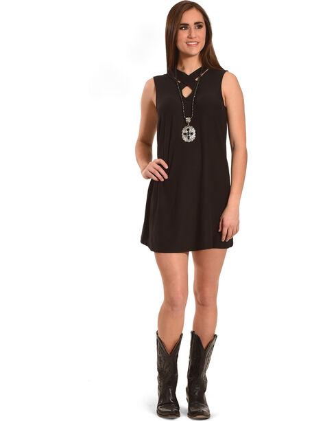 Derek Heart Women's Black Criss Cross Neck Dress , Black, hi-res