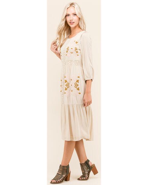 Polagram Women's 3/4 Sleeve Embroidered Midi Dress , Taupe, hi-res