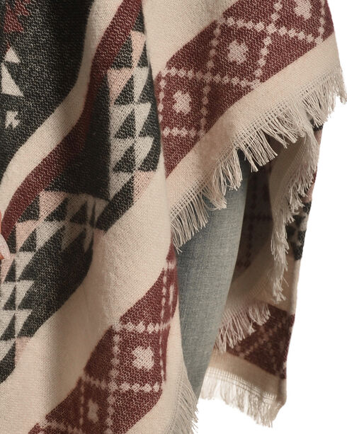Shyanne Women's Spirit Pink/Grey Aztec Poncho, Multi, hi-res