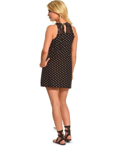 Derek Heart Women's Sleeveless Trapeze Print Lace Yoke Dress, Black, hi-res