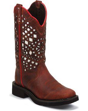 Justin Women's Laser Cut Western Boots, Redwood, hi-res