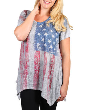 Vocal Women's Plus Distressed American Flag Short Sleeve Top, Heather Grey, hi-res