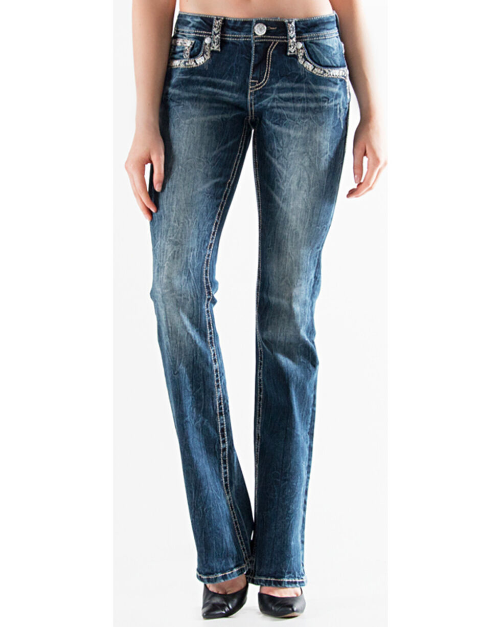 Grace in LA Women's Dark Blue Ava Aztec Denim Flat Pocket Jeans - Boot Cut , , hi-res