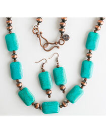 West & Co. Women's Worn Copper Turquoise Stone Jewelry Set, , hi-res