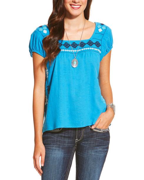 Ariat Women's Glorious Short Sleeve Top, Dark Blue, hi-res