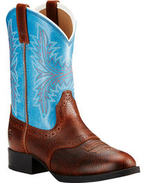 Ariat Youth Girls' Dark Brown Heritage Hackamore Boots - Round Toe , , hi-res