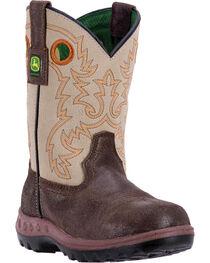 John Deere® Children's Waterproof Western Boots, Coffee, hi-res