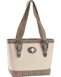 Shyanne Women's Cross Concho Western Tooled Concealed Carry Tote, , hi-res