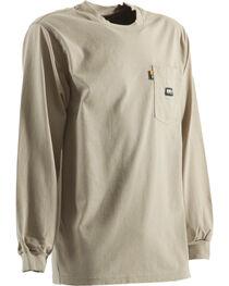 Berne Khaki Long Sleeve Flame Resistant Crew Neck T-Shirt, , hi-res