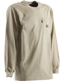 Berne Khaki Long Sleeve Flame Resistant Crew Neck T-Shirt - 2XT, , hi-res
