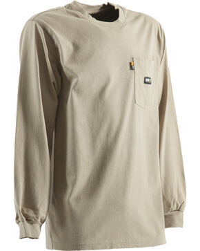 Berne Khaki Long Sleeve Flame Resistant Crew Neck T-Shirt - 3XT and 4XT, Khaki, hi-res