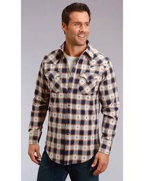 Stetson Men's Modern Fit Dobby Plaid Long Sleeve Snap Shirt - Big & Tall, , hi-res