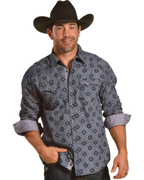 Moonshine Spirit Men's Bandana Navy Long Sleeve Western Shirt, Navy, hi-res