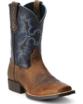 Old West 11 Inch Broad Square Toe Cowboy Boot - Youth(Children's) -Chocolate/Camo Leather