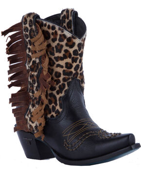 Lane Cheetah Olivia Cowgirl Boots - Snip Toe , Black, hi-res