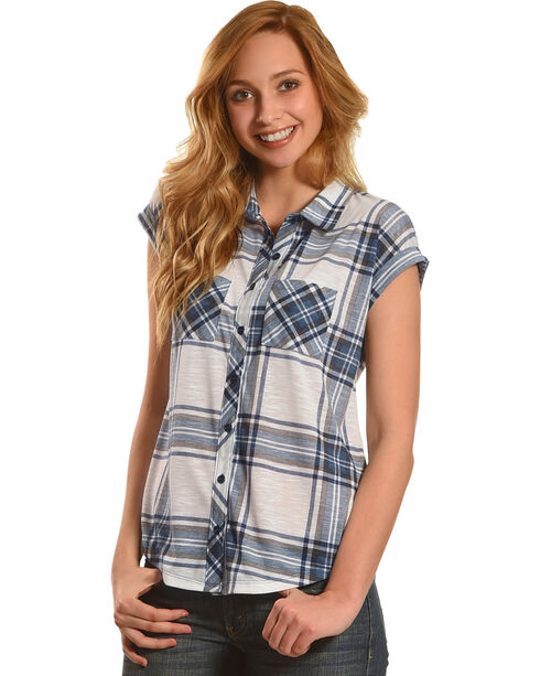 Derek Heart Women's Blue 2 Pocket Plaid Shirt with Extended Shoulder, Blue, hi-res