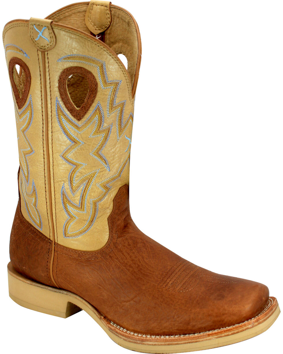 Twisted X Tan and Brown Horseman Cowboy Boots - Square Toe, Brown, hi-res