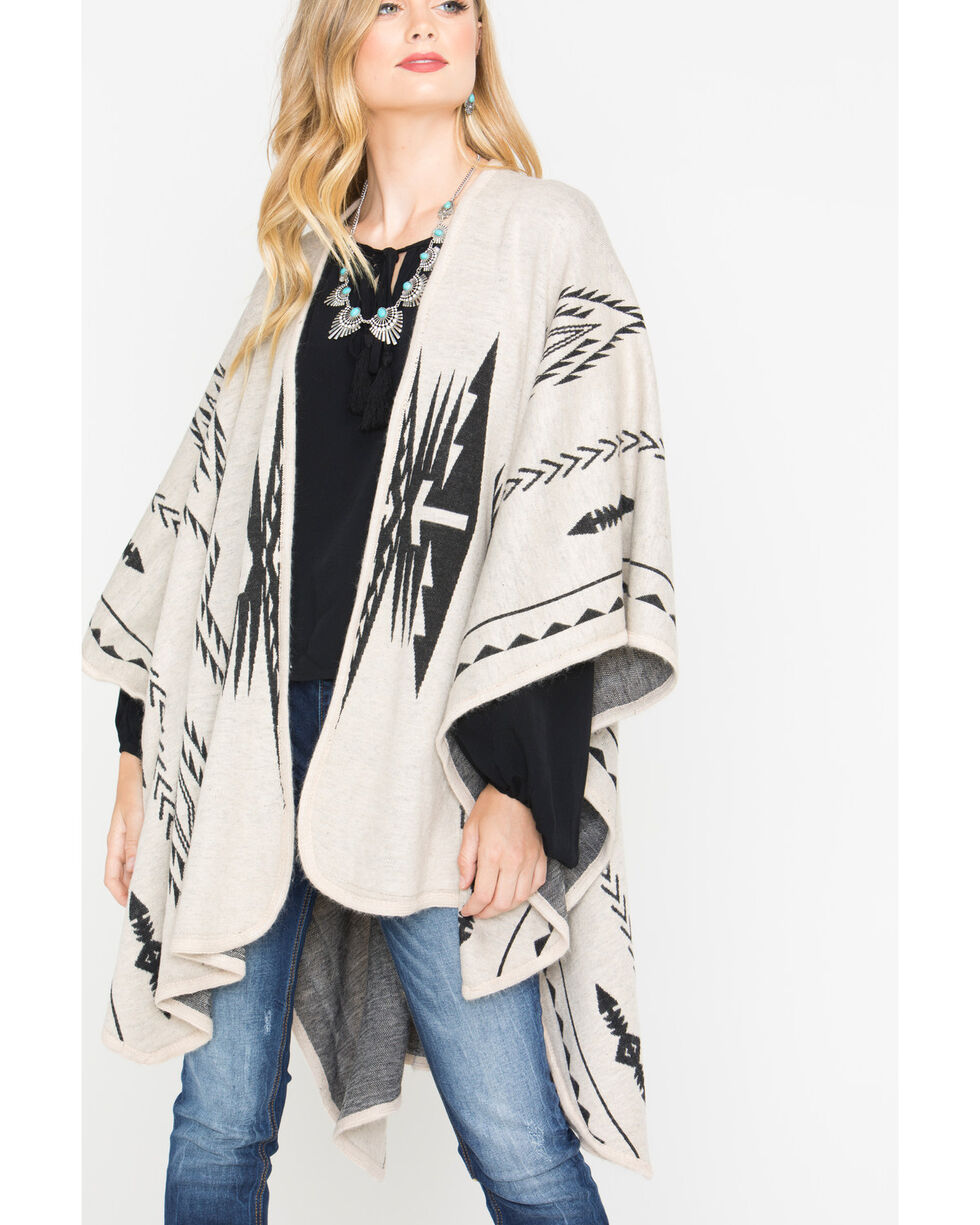 Shyanne Women's Aztec Cream Blanket Scarf, Cream, hi-res