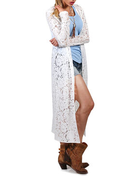 Shyanne Women's Lace Open Front Duster, Ivory, hi-res