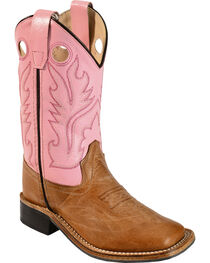 Old West Girls' Pink Cowgirl Boots - Square Toe, , hi-res