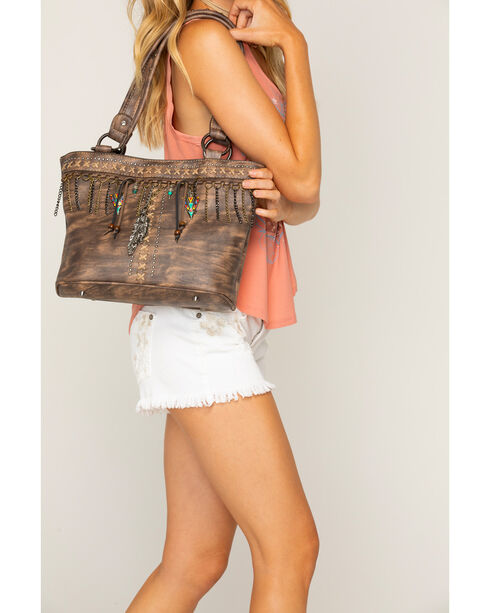 Shyanne Women's Chain Fringe Arrow Charm Concealed Carry Tote, Brown, hi-res