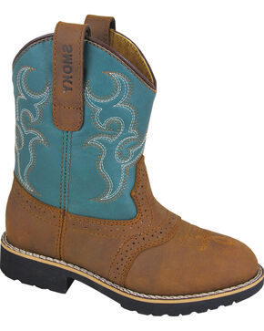 Smoky Mountain Girls' Colby Western Boots - Round Toe, Brown, hi-res