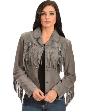 Scully Beaded Fringe Boar Suede Jacket, Grey, hi-res