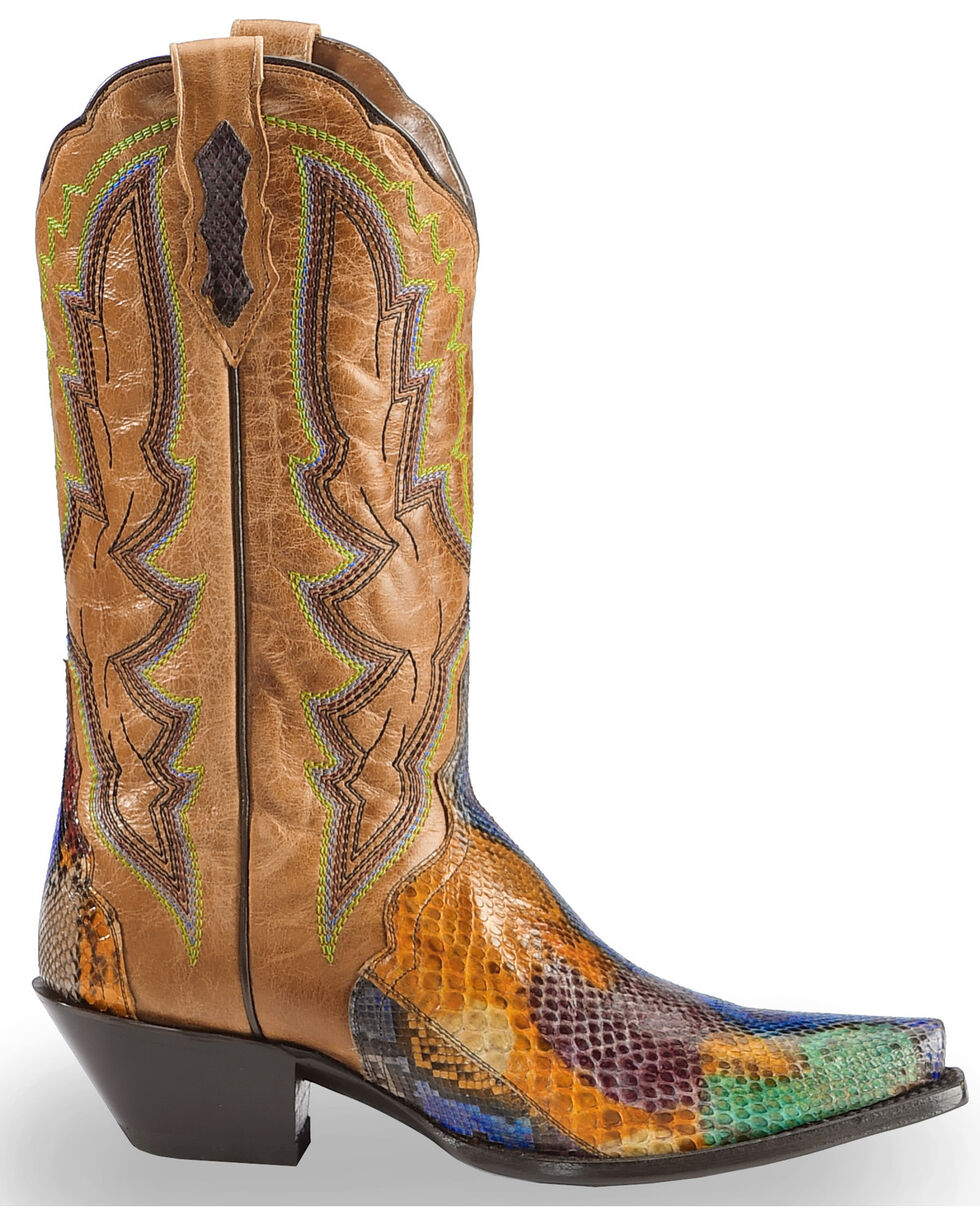Dan Post Women's Painted Belly Python Triad Cowgirl Boots - Snip Toe, , hi-res