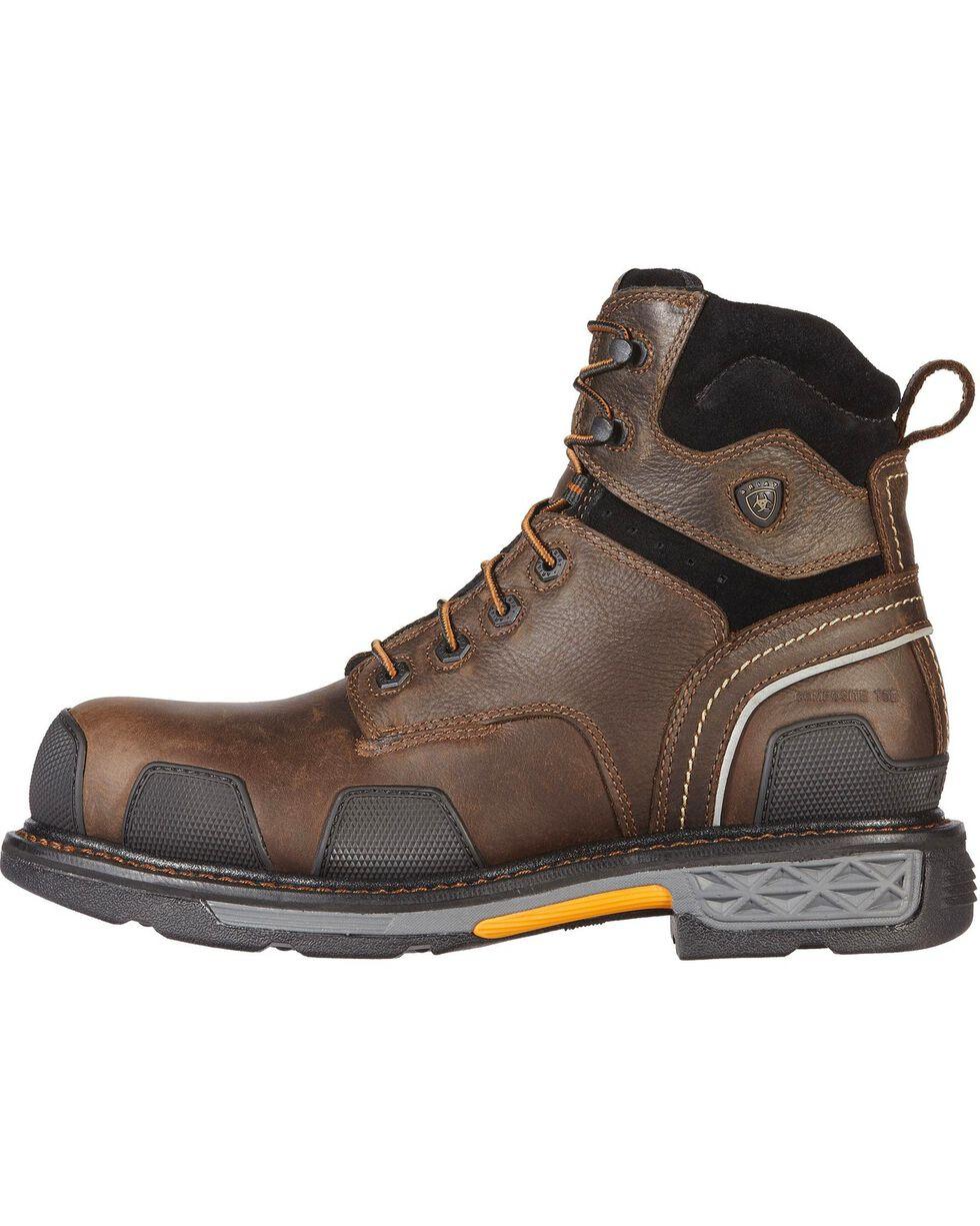 "Ariat Men's Overdrive 6"" Composition Toe Western Work Boots, Dark Brown, hi-res"