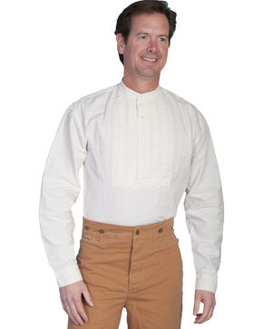 Rangewear by Scully Pleated Inset Bib Shirt - Big and Tall, Ivory, hi-res