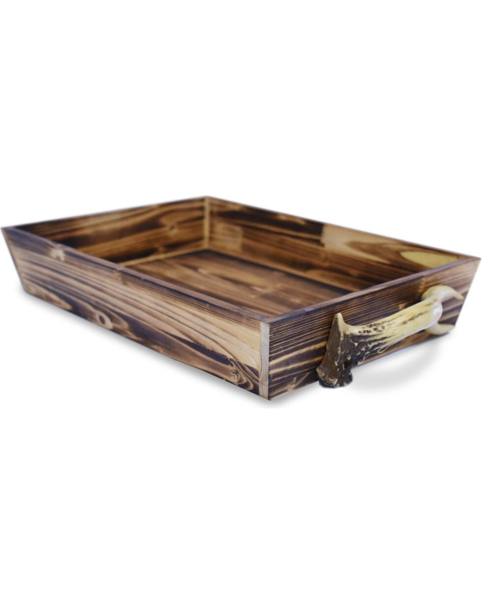 HiEnd Accent Brown Wooden Tray with Antler Handles, Brown, hi-res