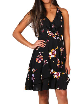 Shyanne® Women's Floral Flutter Dress, Black, hi-res